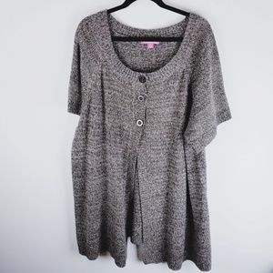 woman within plus size short sleeve long sweater